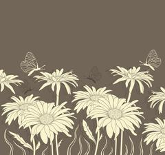 Chamomile and butterflies - stock illustration