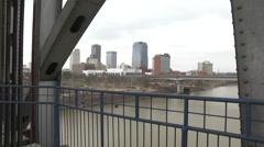 Little Rock, Arkansas - Skyline from Junction Bridge - stock footage
