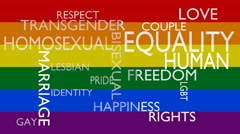 Gay, lesbian, homosexual word tag cloud over rainbow flag - stock footage