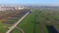 Majdanek concentration camp, Lublin, Poland . Aerial View 02 Stock Footage