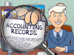 Accounting Records through Magnifying Glass. Doodle Design Stock Illustration