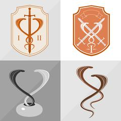 Two stylized cobra - stock illustration
