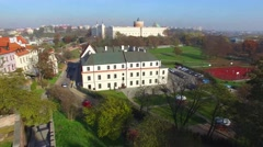 Lublin Castle, Poland. Aerial View 02 Stock Footage