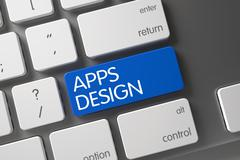 Keyboard with Blue Keypad - Apps Design Stock Illustration