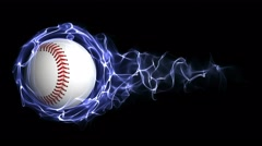 Baseball Ball in Blue Abstract Particles Ring, Loop, 4k - stock footage