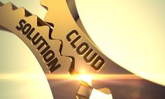 Cloud Solution on Golden Cog Gears - stock illustration