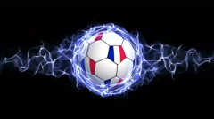 France Flag Soccer Ball in Blue Abstract Particles Ring, Loop, 4k Stock Footage