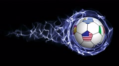 World Flag Soccer Ball in Blue Abstract Particles Ring, Loop, 4k Stock Footage