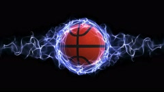 Basket Ball in Blue Abstract Particles Ring, Loop, 4k - stock footage