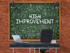 High Improvement on Chalkboard with Doodle Icons - stock illustration