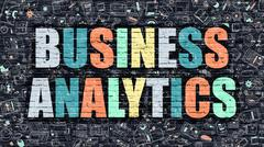 Business Analytics in Multicolor. Doodle Design - stock illustration