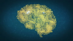 Computer Circuitry Brain in Gold Stock Footage