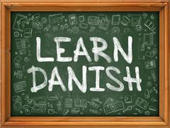 Hand Drawn Learn Danish on Green Chalkboard Stock Illustration