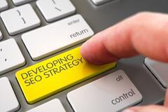 Hand Finger Press Developing SEO Strategy Key Stock Illustration
