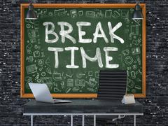 Hand Drawn Break Time on Office Chalkboard - stock illustration