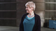 Portrait of Senior Female in city Stock Footage