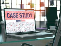 Stock Illustration of Case Study on Laptop in Modern Workplace Background