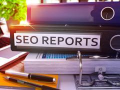 Black Office Folder with Inscription SEO Reports - stock illustration