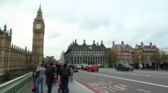 View from the bridge on the London Parliament Stock Footage