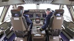 Pilots preparing for takeoff Stock Footage