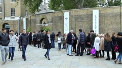People stand in a queue at the exhibition. Stock Footage