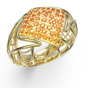 Ring with diamond and pave. 3D illustration - stock illustration
