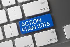 Blue Action Plan 2016 Button on Keyboard - stock illustration