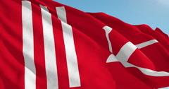 Beautiful looping flag blowing in wind: Jammu Kashmir Stock Footage