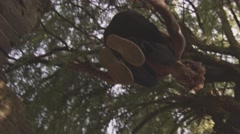 Slowmotion Drop by professional Parkour Freerunning Athelte Stock Footage