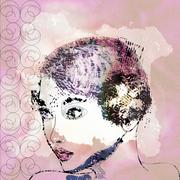 Glamour girl portrait - stock illustration