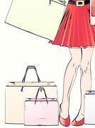 Halftone shopping woman legs Stock Illustration