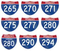 Collection of Interstate highway shields used in the US Stock Illustration