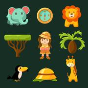 Female Jungle Explorer Collection - stock illustration