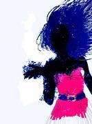 Watercolor girl silhouette Stock Illustration