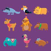 Cute Animals Collection - stock illustration