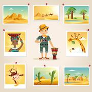 Africa Photographer Surrounded By Photos - stock illustration