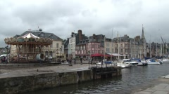 Static shot of the entrance to Honfleur harbour Stock Footage