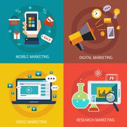 Business banners, Internet , mobile, digital, market research, video marketing Stock Illustration