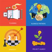 Business banners. business partners, strategy, planning and launch of the - stock illustration