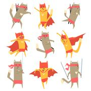 Cat Superhero Character Set - stock illustration