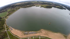 Aerial view of a water reservoir Stock Footage