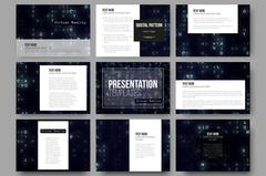 Set of 9 vector templates for presentation slides. Virtual reality, abstract  Stock Illustration