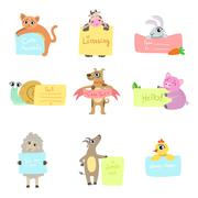 Animals With Cards To fill Set - stock illustration