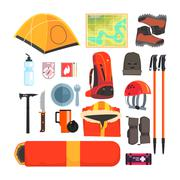 Mountain Camping Equipment Set - stock illustration