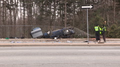 Toronto police at fatal car accident and crash scene that killed three v31 Stock Footage