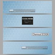 Set of modern banners. Chemistry pattern, hexagonal design vector illustratio - stock illustration