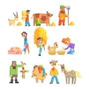 Collection Of Animal Farm Illustrations Stock Illustration