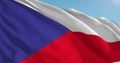 Beautiful looping flag blowing in wind: Czech Republic Stock Footage
