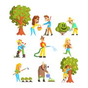 Collection of Fruit Farm Illustrations - stock illustration