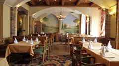 Mediterranean restaurant interior Stock Footage